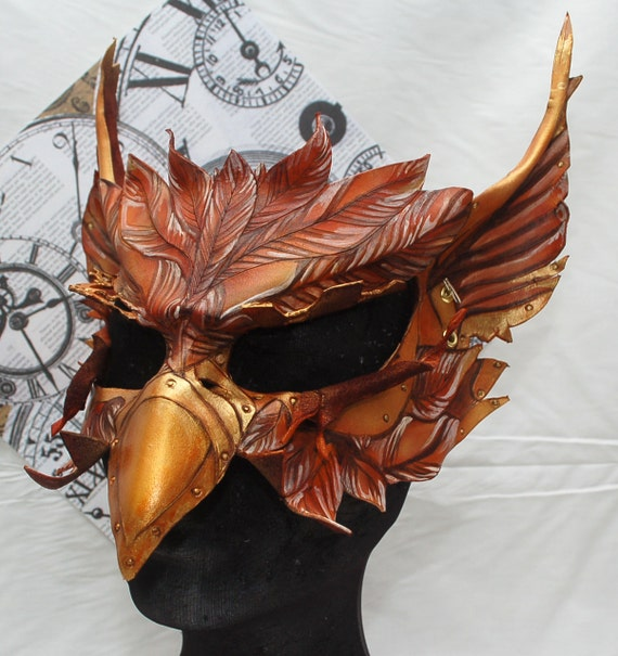 Steampunk Alice in Wonderland Leather Gryphon Griffin Mask