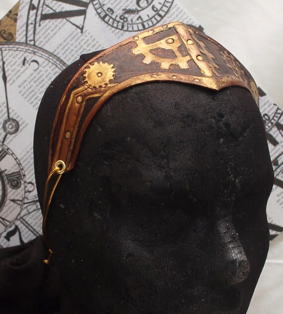 Steampunk Leather Circlet Reversible Headband Cosplay Crown