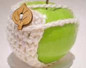 clearance - sale - Apple Cozy - White with leaf button - 30% recycled yarn - Ready to Ship