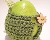 clearance - sale - Apple Cozy - Dark green with leaf and leaf button - 30% recycled yarn - Ready to Ship