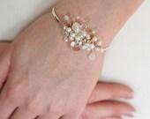 Bridal Wedding Bracelet, Wedding Pearl and Crystal Cuff