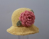 Girls Crochet Sunhat 4 plus year old / Country Yellow 100% Cotton Kids Cloche with Rose Pink Flower and  Sage Green Leaves /  Made to Order