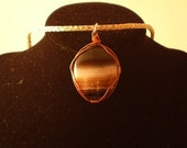 Wire-Wrapped Agate Pendant on Sterling Viking Knit Chain