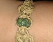 Lizard Green lampwork Celtic (josephine) knot bracelet