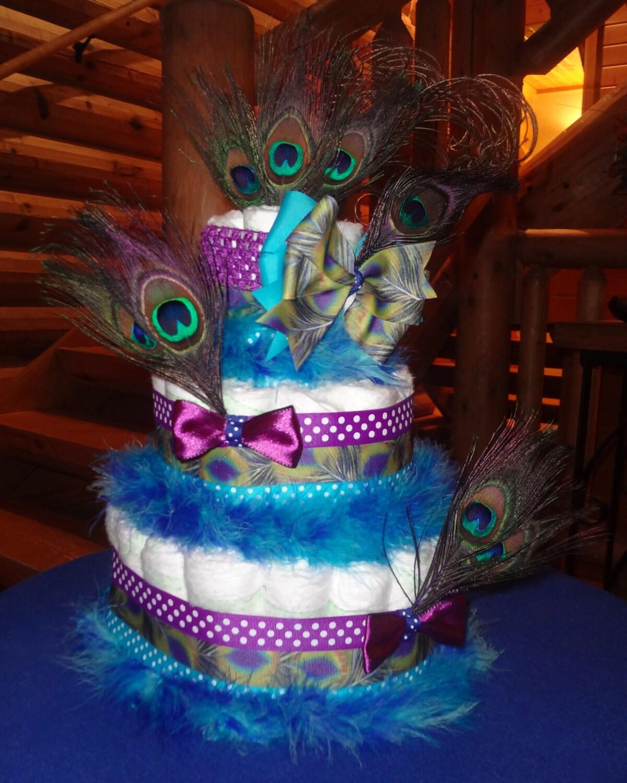 peacock diaper cake by bettycakesbakery on etsy