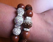 Lovely 2-Piece Bracelet Set with Stardust Beads, Crystal Pave and Crystal Square Spacers