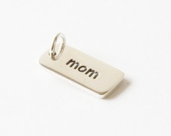 Mom Sterling Silver Word Charm, Mothers, Mom Charm,