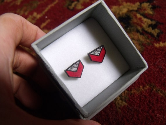 Red and white chevron earrings