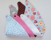 Reversible Baby Bandana Bibs set of 3 with dots, flowers, butterfly