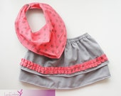 Baby creases Bandana Bibs with flowers & Skirt set