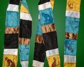 Egyptian Gods Goddesses Cotton Silk Hand Dyed Beaded Scarf