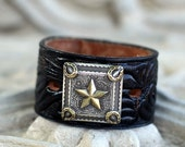 Black Leather Belt Bracelet with Lucky Star Square Concho