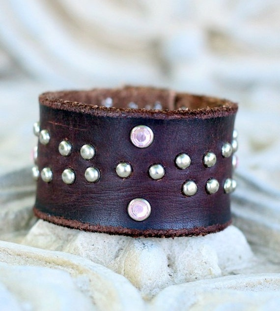 Brown Leather Cuff Bracelet with Pink Rhinestones