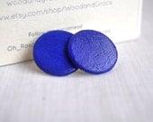 Simple Cobalt Blue - Wooden Stud earrings