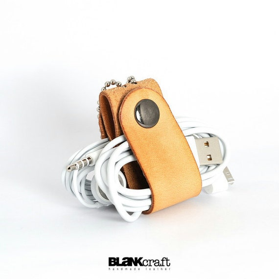 Handmade Raw Leather USB /Earphone Cable Management