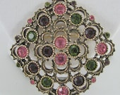 Sarah Coventry Austrian Lites Pin Purple Pink Rhinestone Brooch