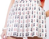 SAILOR Kitsch Anchor Nautical Print Lolita Mini Skirt SALE