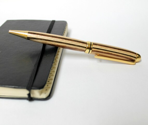 Wood Turned Pen, Striped Diamond Wood, Euro Style with Black Ink
