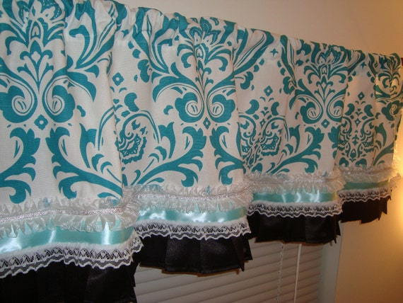 Items Similar To Damask Window Curtain Valance With Ribbon And Lace Traditions True Turquoise