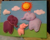 Personalized customized Wall Art - Choose theme, colors, design. Painted canvas with 3D sewn felt. Baby, kids, familly