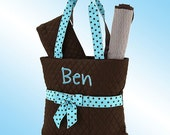 Diaper Bag - 3 Piece Personalized Set - Quilted Brown with Turquoise Accents and Brown Polka Dots