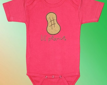 Baby Shirt Bodysuit - Embroidered Applique - Little Peanut on Pink