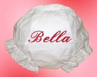 Baby Bloomers - Personalized Embroidered - Carmine Script Monogram