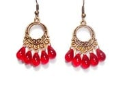 HOOP CHANDELIER EARRINGS - Red Czech Glass Teardrop and Antique Brass