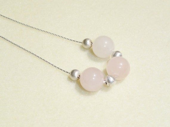 ROSE QUARTZ NECKLACE - Pastel Pink Floating Gemstone Beads, Sterling Silver - Any Color You Like Necklace