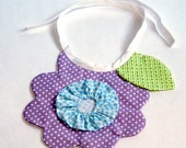 Baby Girl's Cute Little Lavender Flower Bib