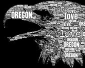 Oregon Love Typographic Art Print