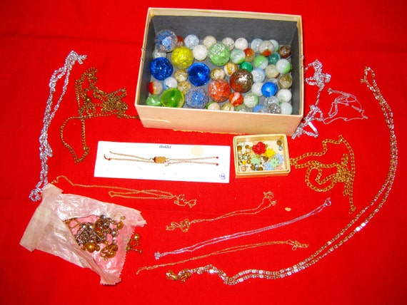 Lot of Vintage Jewelry - for supplies - beads, chains, etc.