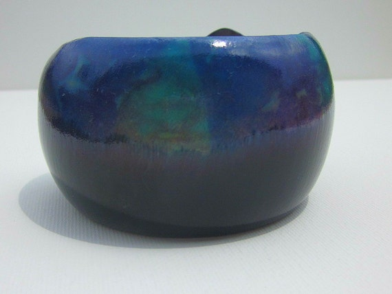 Wooden Bangle Bracelet Round Chunky Black Blue Green Purple