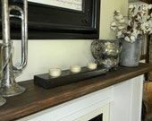 Rustic Chic  Wood Candle Holder, 3 Hole