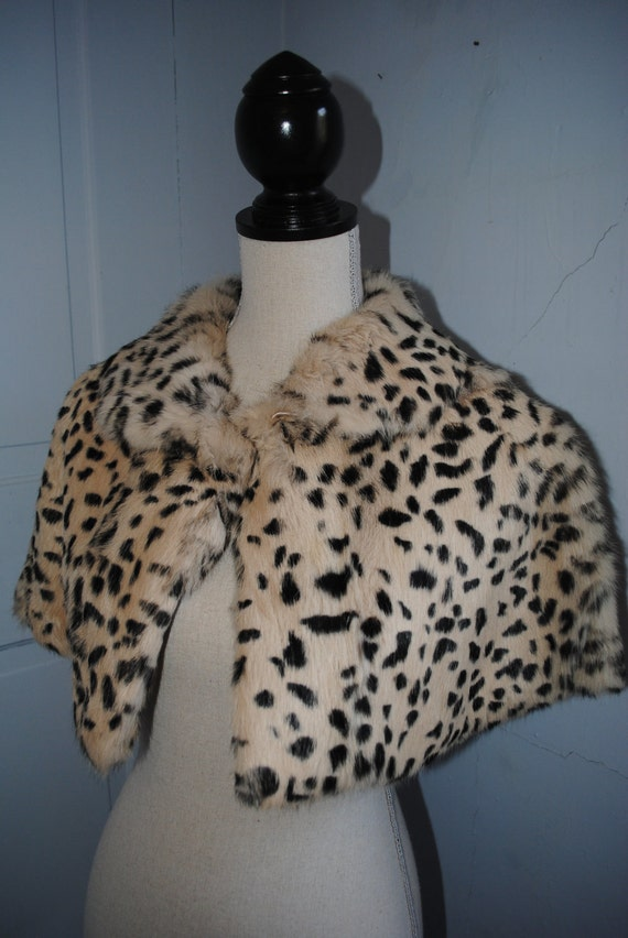 Leopard Print Genuine Rabbit Fur Cape/Shawl