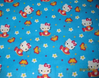 Hello Kitty Butterflies and Flowers Cotton Fabric