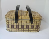 Reserved for pikurnoze Vintage Two Toned Metal Picnic Basket.  Yellow and Brown Basket Weave with Dark Brown Handles
