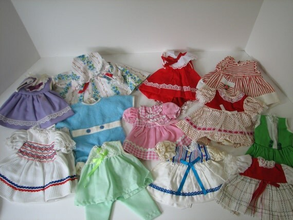 Big Lot of Vintage Doll Clothes from the 1960s plus Shoes and Socks
