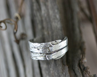 Sterling Silver Grapevine Bark Ring