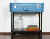 FREE SHIPPING SALE Blue Table - Handmade Blue Suitcase Side / End Table with Storage Shelf