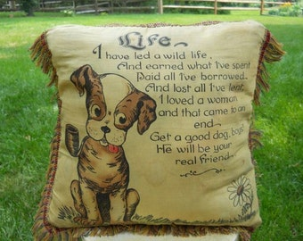 Souvenir Pillow From Nashville, Tennessee With a Pipe-Smoking Dog and a Sad Poem