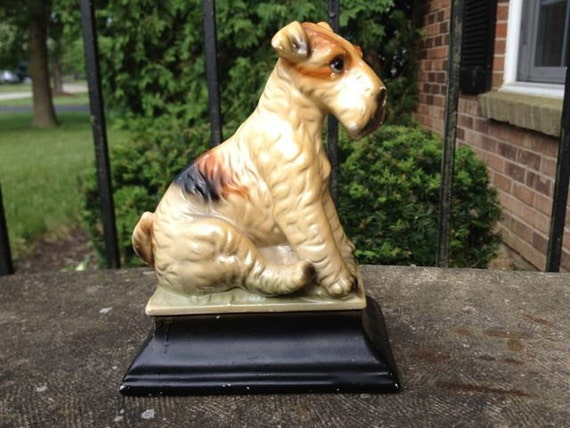 Ceramic Dog (Airedale or Wire Hair Fox Terrier) on Pedestal