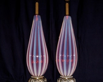 Pair of Murano Glass Lamps,Mid-Century,Lavender Pink Opaline ..... 50% OFF SALE