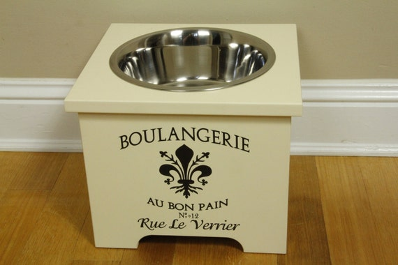 elevated dog feeder, 10 inches, 3 quart stainless bowl, hand painted and sealed with a water based sealer