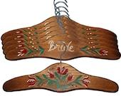 Set of 5 Wedding Hanger Birdal Party Gift Name Hanger Romantic Script Personalized Brown Hand Painted Wood Hanger Bride