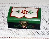 Hand Painted Wedding Box Ring Box Folk Style with Flowers Motif
