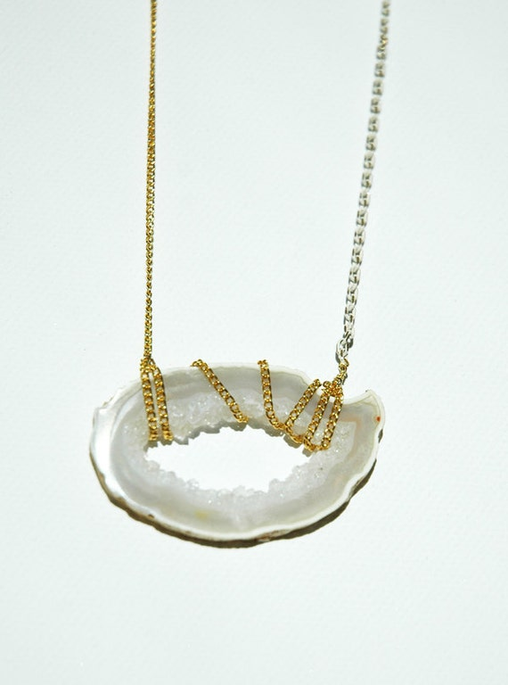 Gold Wrapped Geode, Druzy necklace