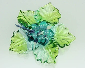 SERENITY Sculptural Lampwork Glass Leaf Beads - handmade by Lisa Kan