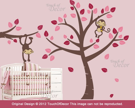 Kids Removable Wall Decals - Two Monkeys Hanging in Tree - Girls Nursery Decal