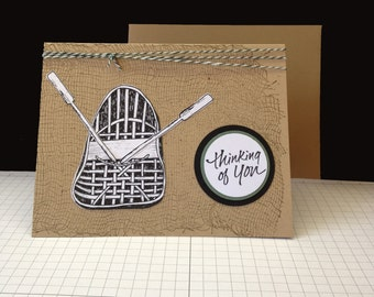 Happy Fathers Day card  boat rowboat oars